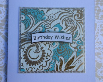 Handcrafted Birthday Card Vintage Blue