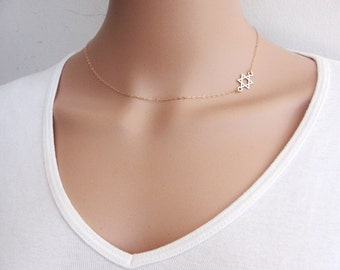 Star of David Necklace, Gold Magen David Necklace, Magen David Necklace, Gold Star of David necklace, Dainty necklace, Jewish jewelry