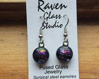 Pink dichroic glass earrings,  Pink dichroic glass jewelry, Fused glass dangle earrings, EA283