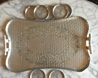 Aluminum Tray Set Vintage 1940s