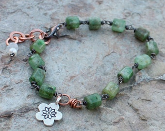 Green KYANITE bracelet with sterling Silver and COPPER, mixed metals and a flower charm, under 75.00