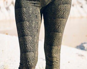 Viper leggings - Organic cotton leggings-Gold snake print -Snake print leggings-