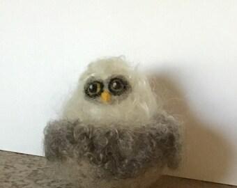 baby owl in nest, needle felted bird soft sculpture