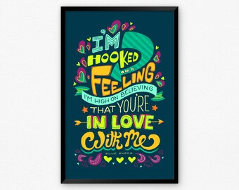 Guardians of the Galaxy, Hooked on a Feeling Retro Song Lyric Typography Poster