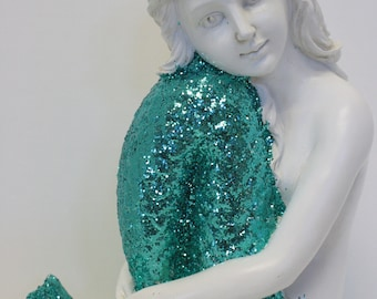 Mermaid Statue Lg Sitting Figurine Turquoise Glittered Nautical Decor Coastal FREE SHIPPING