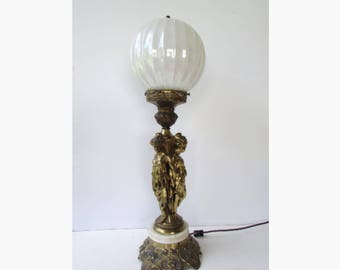 Bronze Metal Tablelamp Mid Century Modern Grecian Figural Lamp - Bronze Gold Colored Metal - White Opaque Glass Round Shade - Carrara Marble
