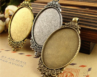 10 Pendant Trays- 30x40mm Filigree Flower Frame Oval Bezel Setting W/ Loop, Antique Silver/ Antique Bronze/ Antique Gold available