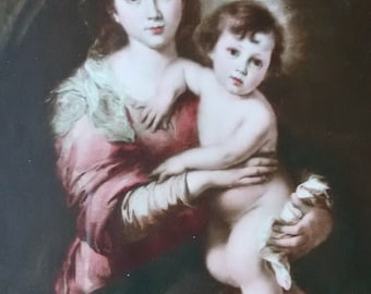 Vintage Madonna and Child by Murillo, Print, Madonna and Child after 1638,  Spanish Baroque, Religious Art