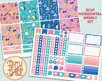 Back to the 80's Weekly Kit Planner Stickers | Erin Condren Horizontal | Geometric | Shapes | Triangles | Retro