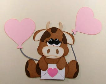 Adorable Valentine Cow paper piecing diecut for scrapbooking or cardmaking