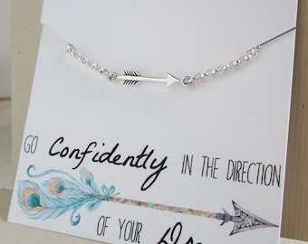 Back to school Gift for her Sterling silver arrow bracelet College High School freshman gift Go confidently in the direction of your dreams