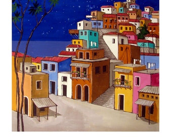 FAVELA PAINTING 3, Brazil, Stars night, Latin America Street,Colorful, Original illustration artist Print Wall Art, Free Shipping in USA.