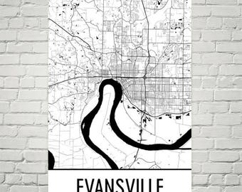 Evansville Map, Evansville Art, Evansville Print, Evansville IN Poster, Evansville Wall Art, Gifts, Map of Indiana, Indiana Poster, Decor
