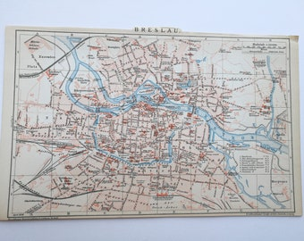 Vintage 1896s German map Wroclaw ( Breslau)