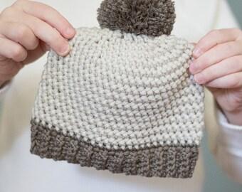 Crochet Pattern - Herringbone Baby Hat (Baby Newborn Pom Pom Crochet Hat Pattern) - Instant Download PDF Crochet Pattern