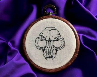 Hand Embroidered Hoop Art of Cat Skull