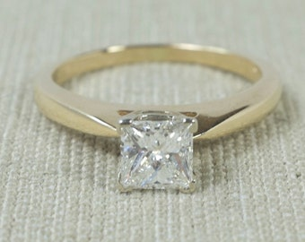 Exquisite Timeless 14K Yellow Gold EGL Certified 0.67ct SI1/I Princess Cut Square Natural Diamond Solitaire Engagement Ring FREE SHIPPING!