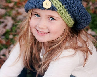 Slouchy Beret Crocheted Cobalt, Clover  Photo Prop Hat Scarf Shawl