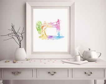 Gifts for Sewers - Sewer Gift - Watercolor Sewing Machine - Sewing Art - Sewing Machine Art - Sewing Room Decor - Watercolor Prints