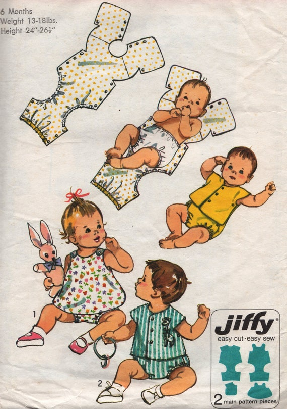 Vintage Baby Sewing Pattern /Simplicity 9338/ Baby one-piece snap on ...