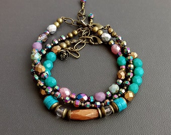 Colorful boho bracelet set Handmade jewelry Boho beaded bracelet Bohemian jewelry Stackable bracelets Boho jewelry Multicolor bracelet