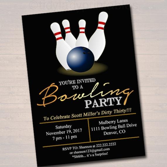 editable adult bowling party invitation birthday invitation