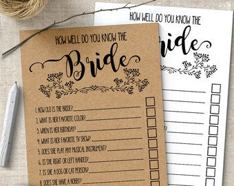 How Well Do You Know the Bride, Bridal Shower game, printable rustic games, party games, G101