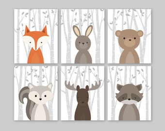 Forest Animals Wall Art, Woodland Nursery Decor, Woodland Nursery Art Prints, Forest Friends, Forest Nursery Baby Boy Nursery Decor Set of 6