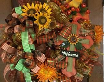 Fall wreath, fall deco mesh wreath, front door wreath, fall door decor, cross wreath, welcome wreath