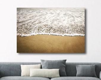 "Canvas Wall Art - Beach Photography - Canvas Ocean Wall Art - Neutral Beige White - Nautical Beach House Living Room Art  ""October Tide"""