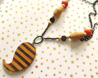 Necklace ethnic necklace boho chic orange and black