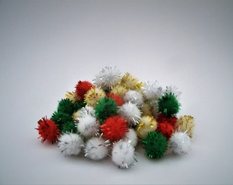 Mini Tinsel Pom Poms - 10 mm - 60 Ct - Christmas - Miniature Holiday Decor - Decoration - Accessory - Craft Supply