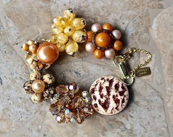 Vintage Earring Bracelet, Bridesmaid Gift, Copper, Rust, Gold Topaz, Brown, Boho Reclaimed Woodland Under 40 Rhinestone Jennifer Jones, OOAK