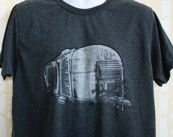 MEN'S Airstream Tee in 100% recycled poly/cotton, hand printed, choose your color and size
