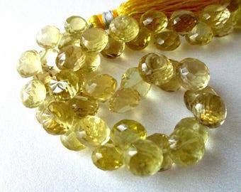 Lemon quartz faceted onion briolette- 8mm- 8 briolette