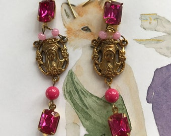 Vintage Pink Chandelier Earrings