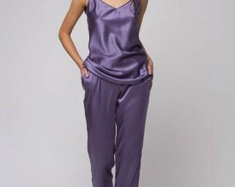 Silk pajama set Silk pajamas Bridal sleepwear Gift for women Pajamas with top Silk pyjamas Lingerie set Women pajama Natural silk pajamas