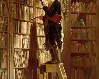 The Book Worm (Der Bücherwurm) by Carl Spitzweg ~ circa 1850 ~ Giclee Print - Biedermeier Art - Librarian art