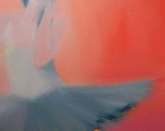 Tutu Wall Art Canvas, Gift for Her Ballerina print, Modern Art Dancer Print, Red Canvas Art Giclee Print