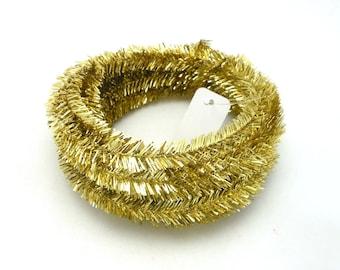 Roll of Metallic Gold Wired Tinsel Garland - 25 Feet