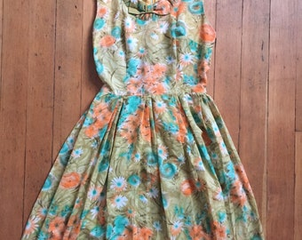 vintage early 1960s floral dress // 60s day dress