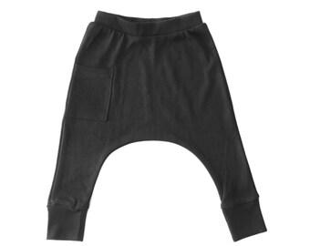 Organic Baby Clothes  - Baby Boy Harem Pants, Baby Boy Clothes, Baby Boy Pants, Baby Boy Leggings, Organic Baby Pants - Coal Gray