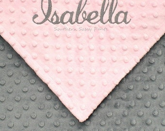 Personalized Baby Blanket, Custom Baby Blanket for Baby Girls, Gray Pink Minky Baby Blanket, Name Baby Blankets, Baby Shower Gift, 28x30