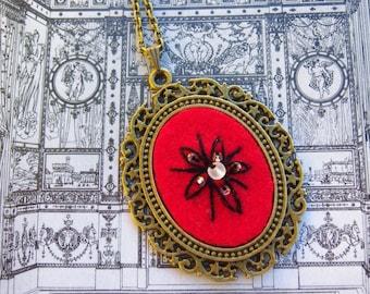 Bronze, antique bronze tone pendant necklace red felt blossom