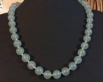 Natural raw Aquamarine 10mm  necklace
