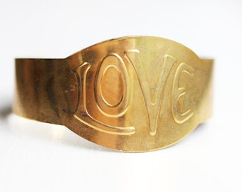 Love Cuff, Gold Love Bracelet, Love Bracelet, Love Word Bracelet, Gold Cuff Bracelet, Gold Cuff, Brass Cuff, Brass Cuff Bracelet, Cuff, Love
