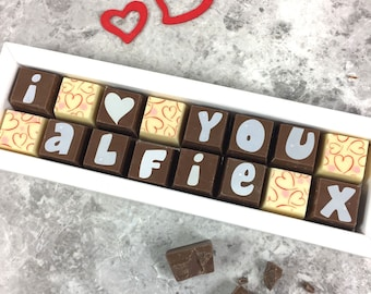 I LOVE YOU Chocolate Box with NAME - Box of Chocolates with Name - Love You Chocolates - I Love You - Chocolates with a Message