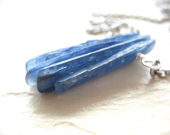 Kyanite Necklace, Blue Kyanite Stone Silver Chain Necklace, Handmade Necklace, Kyanite Jewelry, Blue Kyanite Pendant Necklace