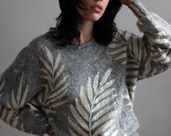 80's palm leaf sweater / vintage Angora sweater / vintage sweater / 80's sweater / 80's gray sweater / sequined sweater