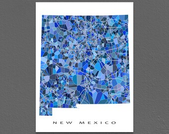 New Mexico Map Print, New Mexico State Art, NM Wall Artwork